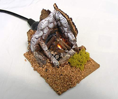 De Sisinno Feuerschale aus Terrakotta mit Leuchtmittel in Feuereffekt, Größe: H8x10x8 cm