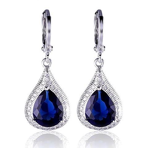 GULICX Blue Jewellery Cubic Zirconia Teardrop Party Dangle Earrings Sapphire Color 18k White Gold