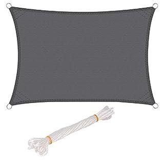 WOLTU Sonnensegel Rechteck 4x5m Grau wasserabweisend Sonnenschutz Polyester Windschutz mit UV Schutz für Garten Terrasse Camping