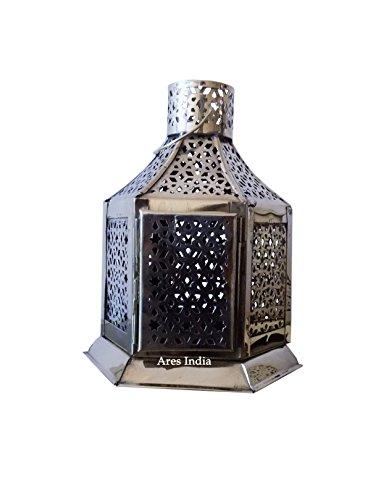 Antiguo Vinatge aspecto latón colgante marroquí Vela farol Home Garden,