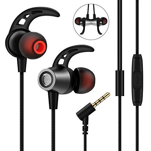 Nasharia In Ear Kopfhörer, mehrweg, Ear Ohrhörer Metallisches Stereo Headset Earphones mit Ohrstöpseln und Mikrofon für iPhone, Android Smartphones und MP3 Players(Schwarz) -