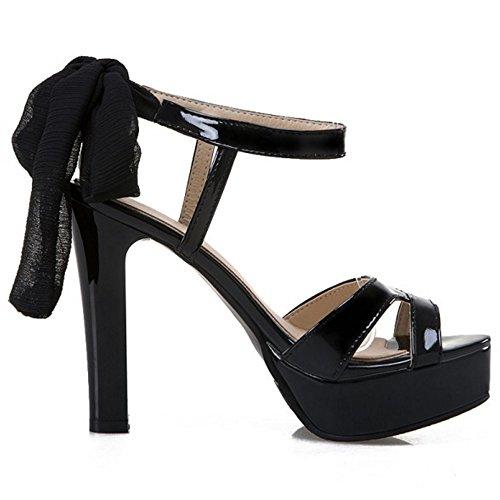 COOLCEPT Damen Mode Schnurung Sandalen Open Toe Slingback Blockabsatz Schuhe Schwarz