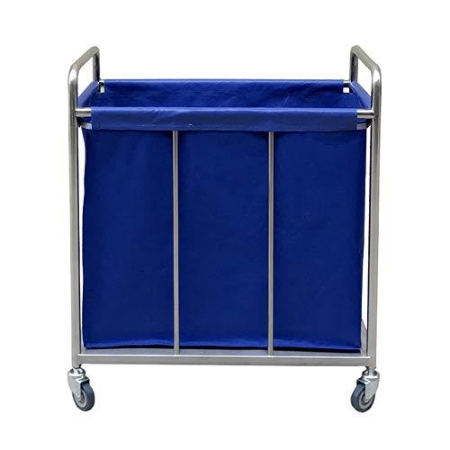 Hotel Wäschewagen Blaues Hochleistungshotel, das Wäscherei-Sortierer-Speicher-Wagen auf Rädern, tragbarer Lobby-Korrektor-Leinenwagen mit entfernbarer Tasche rollt (Color : Blue, Size : 80×50×88cm) -