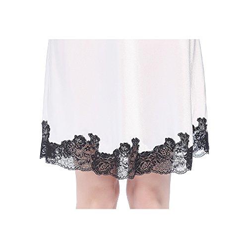 LilySilk Camicia Da Notte Di Donna Corta In 22 Momme Pura Seta Di Pizzo Floreale Bianco