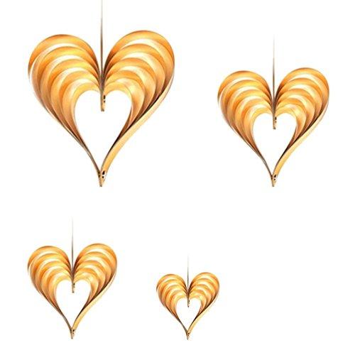 HKFV Hängende Ornamente Geburtstag Hochzeit Tür Dekor Falten Dreidimensional Herzförmige Ornamente Valentinstag Vorschlag Fenster Klassenzimmer Layout Lieferungen Herzförmige hängende Verzierung (Colour -D)