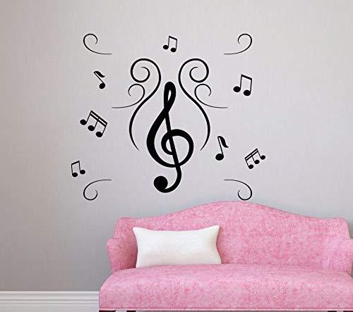 Note musicali Vinyl Stickers murali Divano sfondo rimovibile Soggiorno Decorazione autoadesivi adesivi murali Art Murale Decor Z 56x66 cm