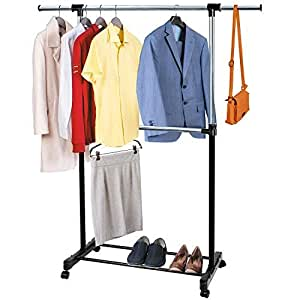 tatkraft saturn adjustable clothes rail with middle rail. Black Bedroom Furniture Sets. Home Design Ideas
