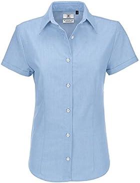 Mujer Camiseta Blusa Cuello Pico Mangas Largas Elegante Oficina Casual