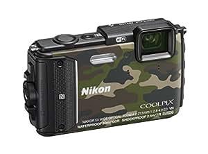 "Nikon Coolpix AW130 Fotocamera Digitale Compatta, 16 Megapixel, Zoom 5X, 6400 ISO, OLED 3"", Full HD, Subacquea, Antiurto, Antigelo, GPS, Wi-Fi NFC, Mimetico [Nital Card: 4 Anni di Garanzia]"