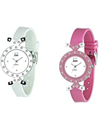 Zeit White Round Analog Watches For Women - Pack Of 2