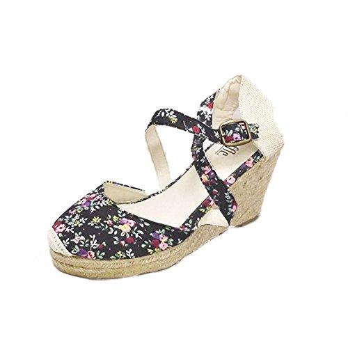 Donne medio cuneo sandali del tallone di tela / pattini con il legame di fissaggio Black Floral