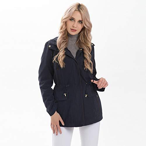 YHXMG Damen Jacke Damen Jacken Frauen Herbst Winter Mäntel Verstellbare Taille Abnehmbare Kapuze Plus SizeWeibliche Oberbekleidung, Navy, 4XL (Frauen Size Sale Mäntel Winter Plus)