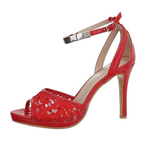 Ital-Design Damenschuhe Sandalen & Sandaletten High Heel Sandaletten Synthetik Rot Gr. 38