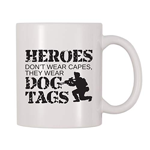 Heroes Don't Wear Capes, They Wear Dog Tags Mug, Themed Cup, Gift For Navel Officers, Air Force, Army, Marines, Navy, Coast Guard 11 oz Wniter Mug -