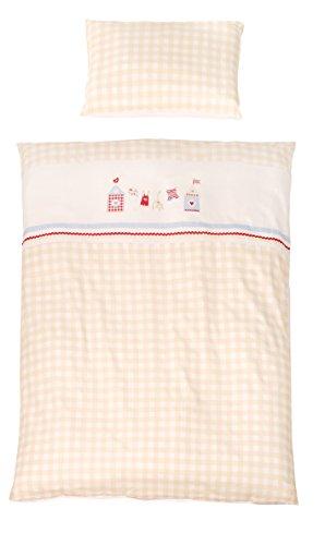 roba Bettwäsche 2-tlg, Kollektion 'Sunny Day beige', Kinderbettwäsche 100x135 cm, 100% Baumwolle, Decken-& Kissenbezug für Babys & Kinder