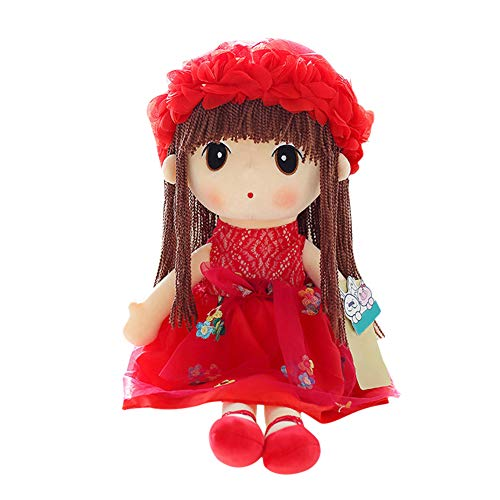 Everpert Muñecas de Peluche Muñecas Trapo Bebe de Encantador Dulce Niña, Regalos de los Niños de la Muñeca de Trapo de la Boda (Rojo, 38cm)