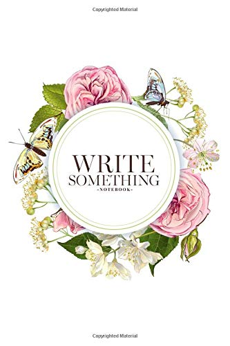 Notebook - Write something: Botanical vertical with rose, linden, jasmine flowers and butterflies notebook, Daily Journal, Composition Book Journal, College Ruled Paper, 6 x 9 inches (100sheets) Linden Wallpaper