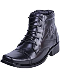 Shoebook Mens Black Leather Boot - B01BSP76B6