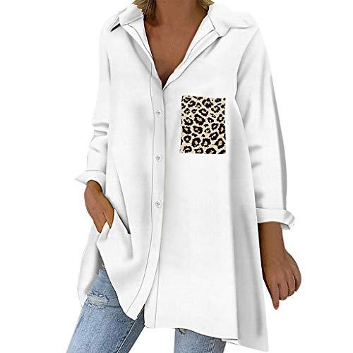 yazidan Damen Blusen Elegante Oberteile V-Ausschnitt Tops Casual Hemd Langarm Shirt Leopard Drucken Lose Bluse Shirts