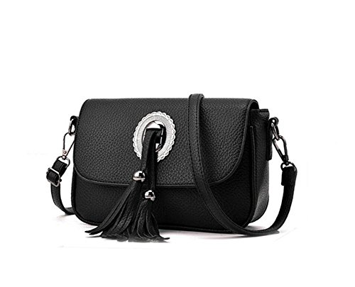 HQYSS Borse donna Cuoio Sweet Lady Tracolla Messenger solido di colore casuale fresco in rilievo nappe Bag Decorato , deep gray black