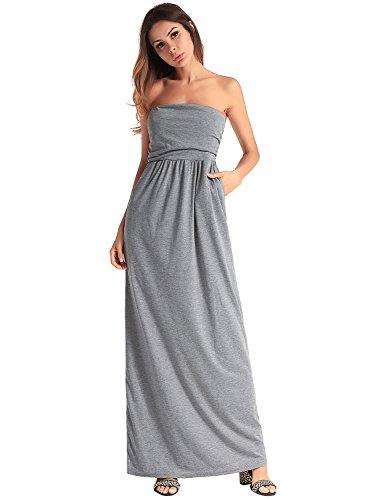 Ruiyige Damen Abendkleid Maxi Abendkleid Elegant Bandeau Langes Kleid Grau M