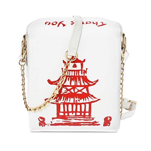 Schultertasche Chinese Takeout Box Geldbörse mit bequemem Kettenriemen, Weiá (weiß), Einheitsgröße ()