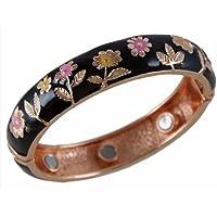 Damen-Armband magnetisch Kupfer und Schwarz Emaille Blumenmuster preisvergleich bei billige-tabletten.eu