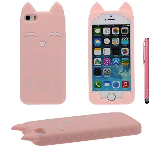 iPhone SE Hülle Hübsch Fuchs Stil Gestalten Serie Slikon Gel [ Glatte Oberfläche ] Super Weich Case Schutzhülle für Apple iPhone 5 iPhone 5S 5C Hülle mit 1 Stylus-Stift pink