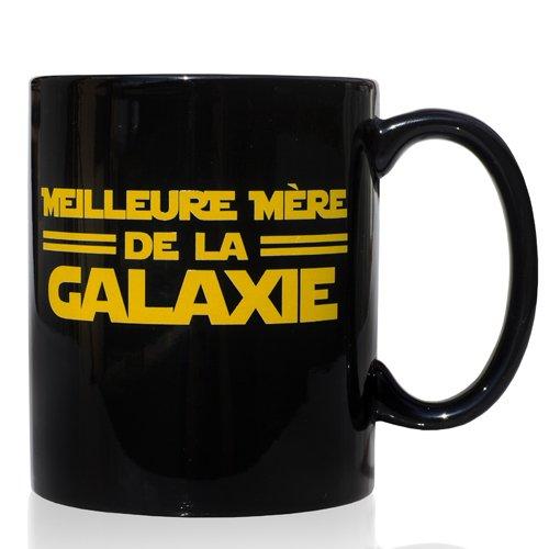 Frühstück Keramik Schwarze Tasse 32 cl. mit Zitat Französische Sprache Meilleure Mère de la Galaxie-Design