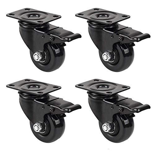 GBL - Set di 4 Nero 4 Ruote Per Carrello 50mm 200KG Rotelle per Mobili, Ruote Girevoli Gomma (4 Rotelle con freno)