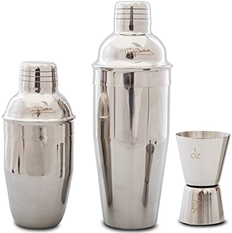 Premium Cocktail Shaker Set by Trendy Bartender - 2 Commercial Grade Stainless Steel Shakers 700ml / 350ml - Built In Strainer - Double Jigger - Cocktail Recipe e-Book - Elegant Giftbox.