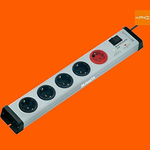 5-fach Master-Slave-Steckdosenleiste Plus Hauptschalter mit 3-Meter-Zuleitung-Kabel | MasterSlave-Mehrfachsteckdose max. 250 V/AC / 3.600 Watt | 0239x00052303