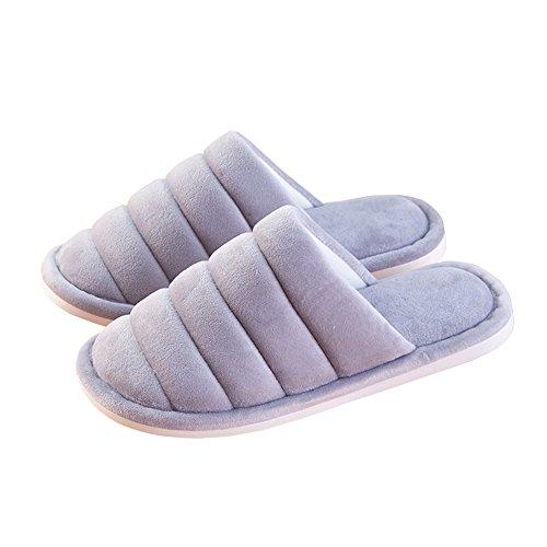 ZHIRONG Automne Intérieur Démaquillant Soft Bottom Slippers Winter Home Hommes et femmes Chaussons chauds en coton ( Couleur : Gris , taille : 43-44(41-42) ) Lake Green