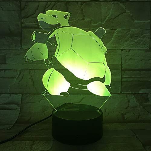 orangeww Pokemon Go Blastoise Figur Lampe Nachtlicht Farbwechsel Bett Lampe Atmosphäre Festival Geschenk Tischlampe für Schlafzimmer Lava Effekt 16 Farbe