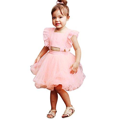 ❤️Elecenty Mädchen Prinzessin Kleid,Baby Solide Mesh Festzug Kleider Rüschen Ärmellos Tüllkleid Rückenfrei Kleid Partykleid Babykleidung Cocktailkleid Kinderkleidung Sommerkleid (100, Rosa) (Xo 112)