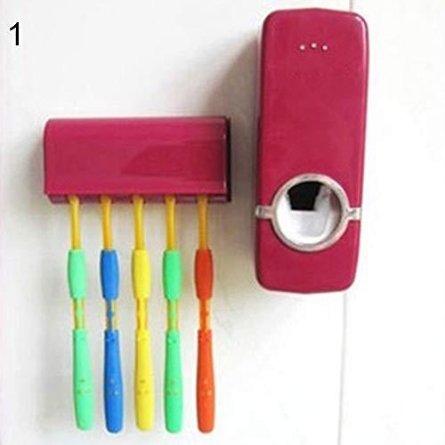 lyhhai Automatischer Zahnpasta-Spender für Zuhause, Wandhalterung, Ständer für Zahnbürsten rot -