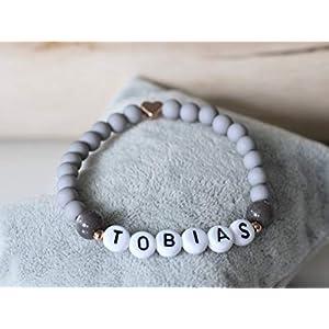Namensarmband rosegold farben grau matt mit Herz Initialen Wunschname Junge Taufe Kommunion Geburt Kind personalisierte Geschenke Armband Perlen Partner Pärchen rotgoldfarben