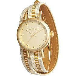 Tokyobay T233-GD Women's Edelstahl Obi Wrap Weißgold Nylon band Gold Zifferblatt Watch.Stylish und attraktive Uhr