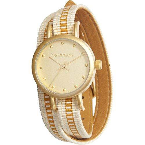 tokyobay-t233-gd-womens-edelstahl-obi-wrap-weissgold-nylon-band-gold-zifferblatt-watchstylish-und-at