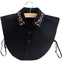 BeToper Mujeres Cuello Desmontable Mitad Camiseta Blusa en algodón Color Blanco, Negro