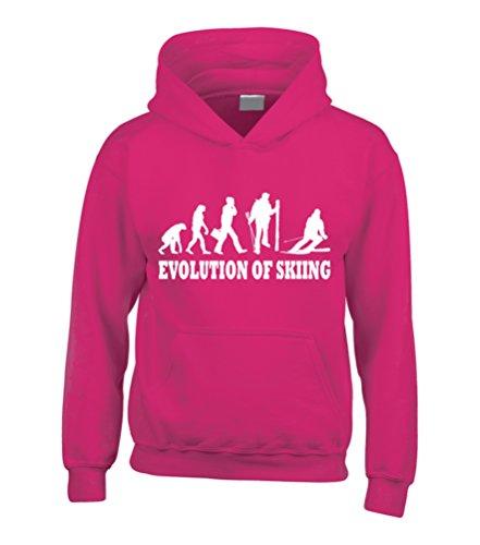 Evoluzione di sci Sci divertente Felpa con cappuccio rosa fucsia
