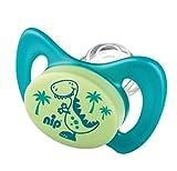 Miss Denti by nip 38183-51 Schnuller, Dentalschnuller Doppelpack, Dino und Delphin mit Backenzähnchen, Große 3, blau/türkis