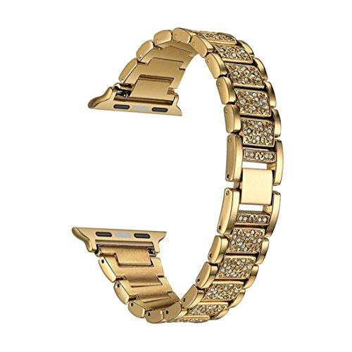 Hunpta Edelstahl Armband Kristall Diamant Armband für Apple Uhr 1/2 38mm (Gold)