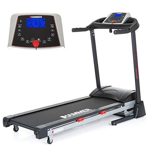 HAMMER Premium Laufband Runner 2000I – 5,0 PS – bis 20 km/h – bis zu 12{9ac256ddff0912854be7e5fc28dfde99393cdc80c8dec9dbfe9a204617d525f5} Steigung – 26 Trainingsprogramme – 3 Herzprogramme – gelenkschonende Lauffläche – kompakt – klappbar