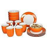 Van Well Frühstücksset 18-tlg. für 6 Personen Serie Vario Porzellan - Farbe wählbar, Farbe:orange