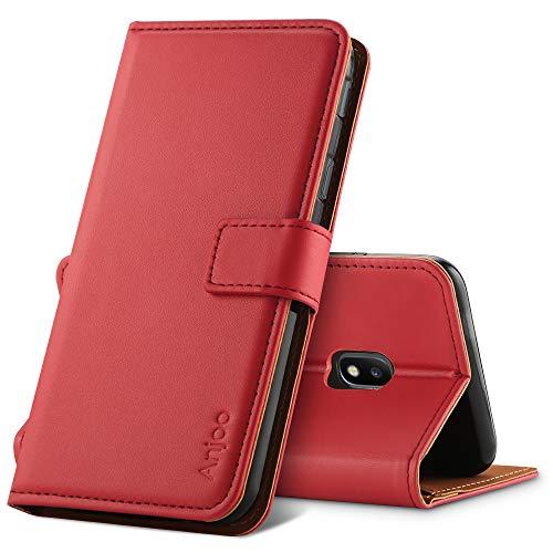 Anjoo Kompatibel für Samsung Galaxy J3 2017 Hülle, Handyhülle für Galaxy J3 2017 Schutzhülle, Tasche Leder Flip Case Brieftasche Etui mit Kartenfach und Ständer für Samsung J3 2017 (Rot)
