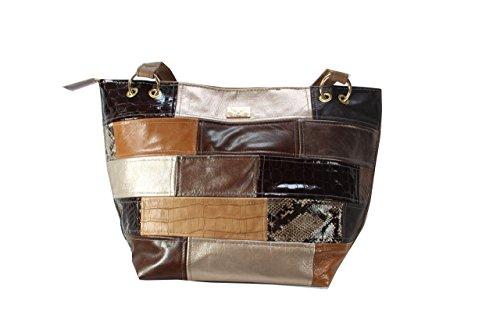 d66a3e875cb2f ausgefallene große Handtasche Lederhandtasche braun gold Shopper  Henkeltasche Patchwork