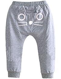Oubang Primavera Autunm Unisex pantalones para niños con poco diseño de algodón Harem pantalones de algodón