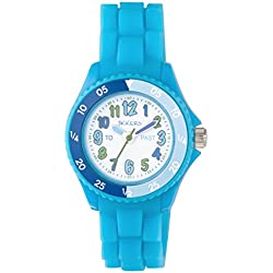 TIKKERS TIME TEACHERS CHILDREN'S WHITE DIAL BLUE SILICONE STRAP WATCH - NTK002