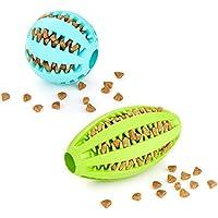 Doppelpack (=2 Stück) Hundespielzeug Ball In Blau Und Ei In Grün Premiumqualität Snackball (7 CM) Und Rugbyball (11 CM) Zur Zahnpflege Und Spielspaß Von Amathings